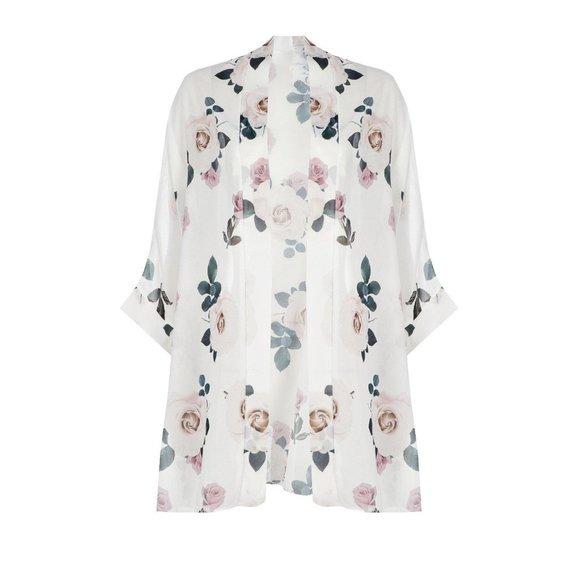 Boohoo Rose Print Chiffon Kimono